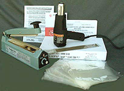 Starter Kit includes heat gun, sealer, and 500 shrink bags